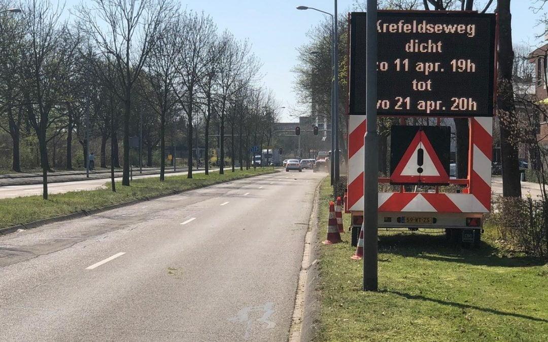 Wegwerkzaamheden Krefeldseweg: zijstraten afgesloten